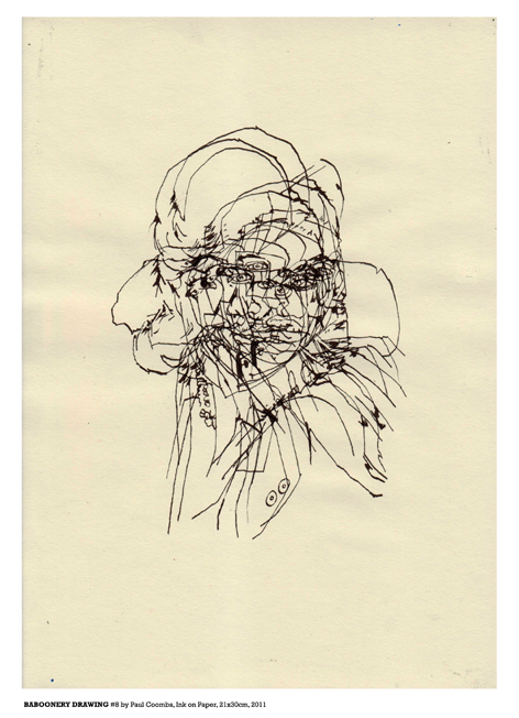 Baboonery Drawing #8 Ink on Paper 2011 by artist Paul Coombs