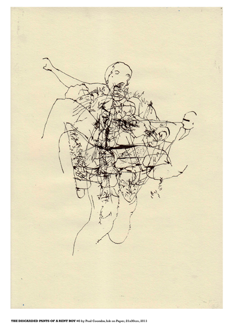 The Discarded Pants Of A Rent Boy #8 Ink on Paper 2011 by artist Paul Coombs