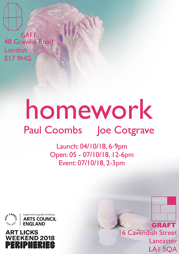 Homework, residency, gaff space, e17, graft, lancs,joseph cotgrave Installation, artist, Paul Coombs, royal college of art, rca, show 2018,